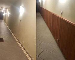 SMP Couleurs du Monde - Aubagne - rénovation couloir peinture pose de sous bassement